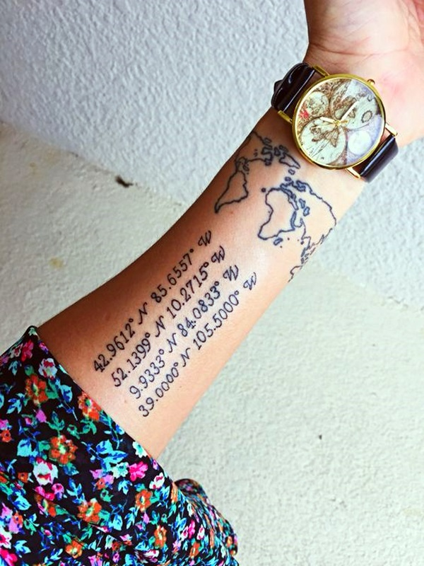 coordinates tattoo Ideas to Mark a Memory on Body (8)