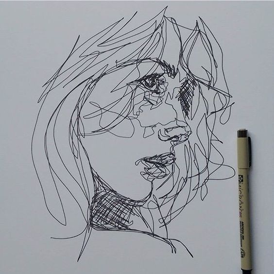 Contour Line Drawing Of A Face : Scribble art to make your home and office look awesome