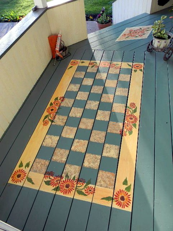 40 creative wood floor paint decoration art works for Porch floor paint ideas