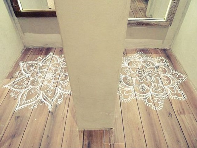 40 creative wood floor paint decoration art works for Painted wood floor ideas