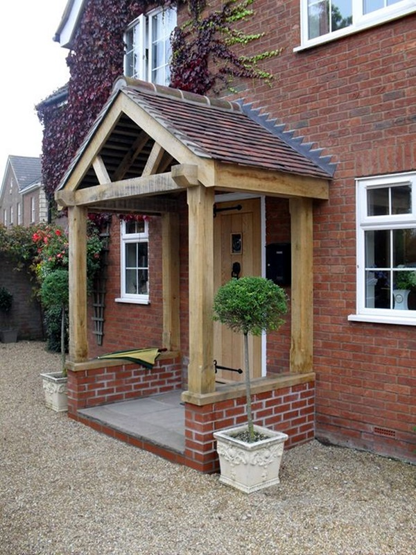 40 lovely door overhang designs bored art for Porch window ideas