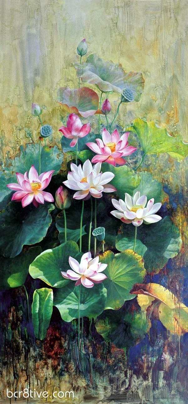 Peaceful Lotus Flower Painting Ideas (1)