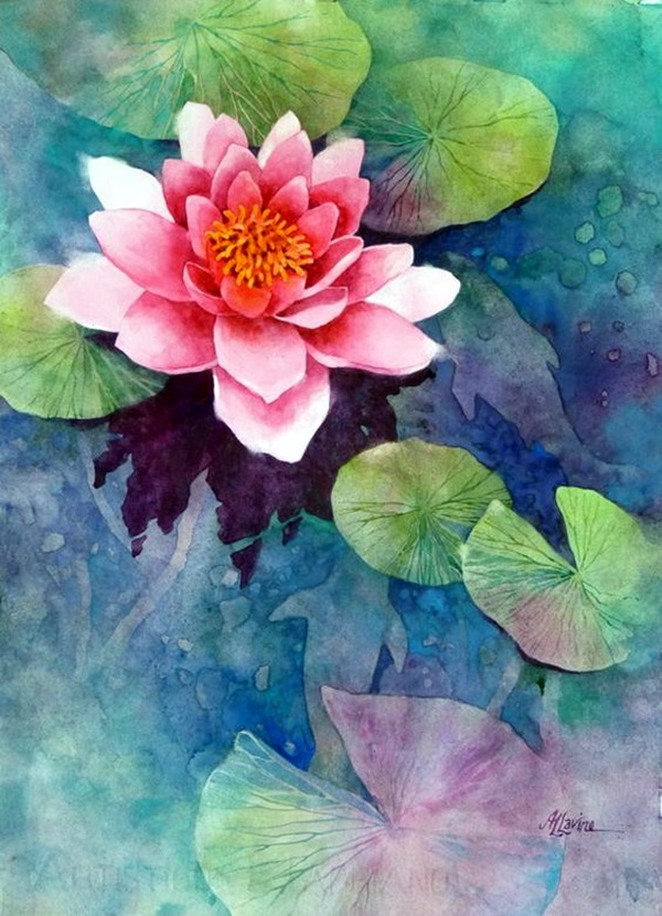 Peaceful Lotus Flower Painting Ideas (17)