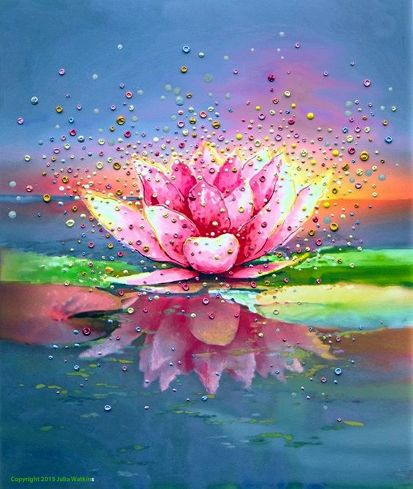 Peaceful Lotus Flower Painting Ideas (19)