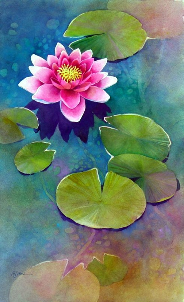 Peaceful Lotus Flower Painting Ideas (22)