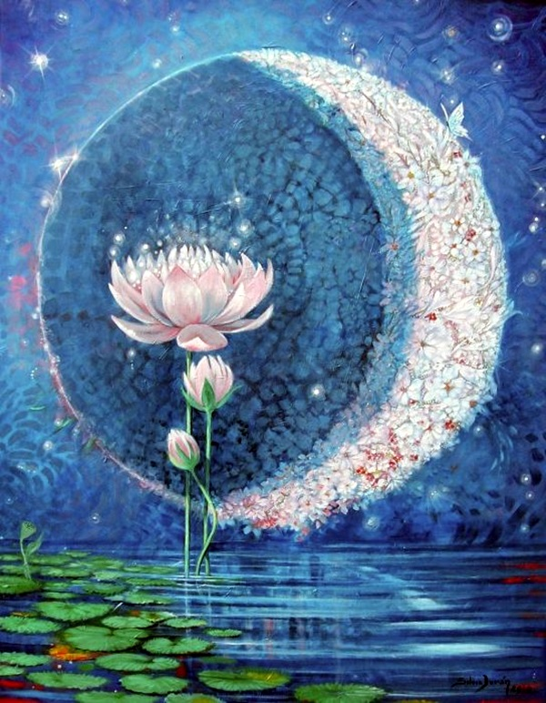 Peaceful Lotus Flower Painting Ideas (25)