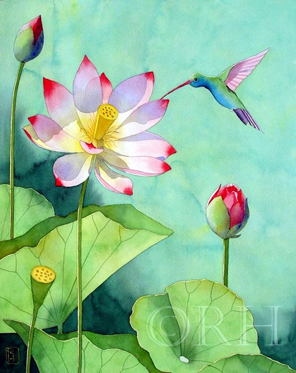 Peaceful Lotus Flower Painting Ideas (6)