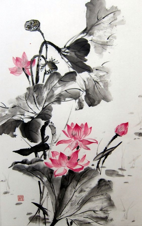 Peaceful Lotus Flower Painting Ideas (7)