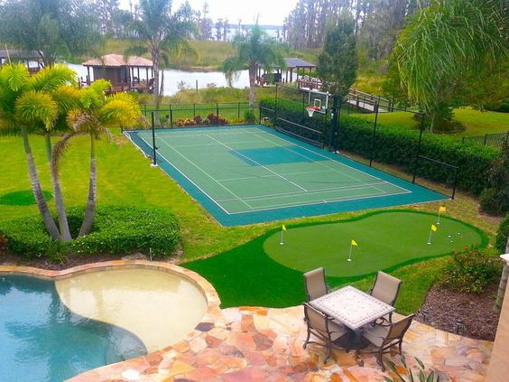 Backyard basketball court ideas to help your family become for Pool design help