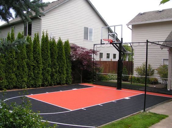 Backyard basketball court ideas to help your family become Indoor half court basketball cost