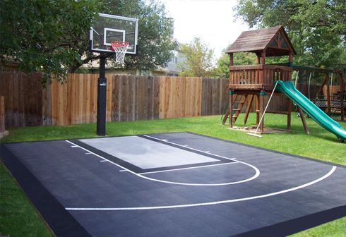Backyard basketball court ideas to help your family become for How much does a half court basketball court cost