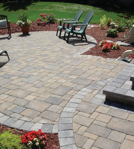 cobblestone patio designs 18
