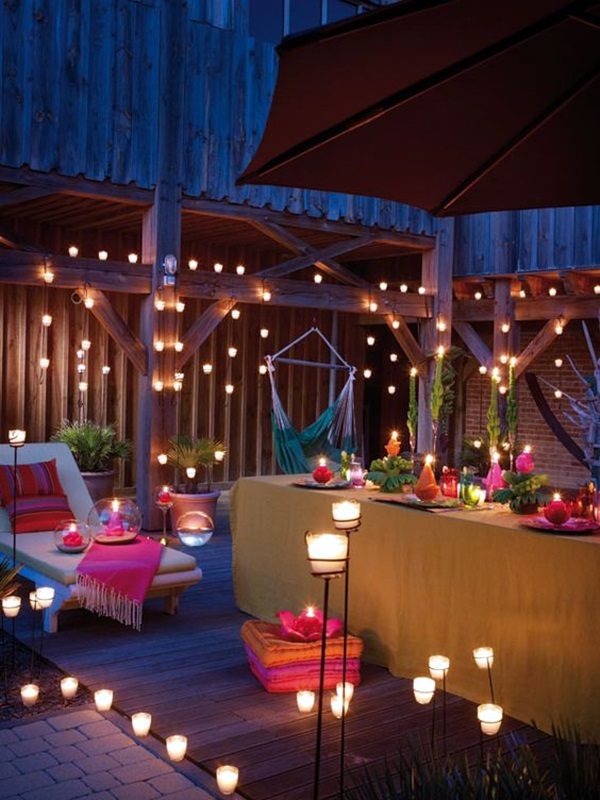 40 terrace light decoration ideas bored art for Terrace party decoration
