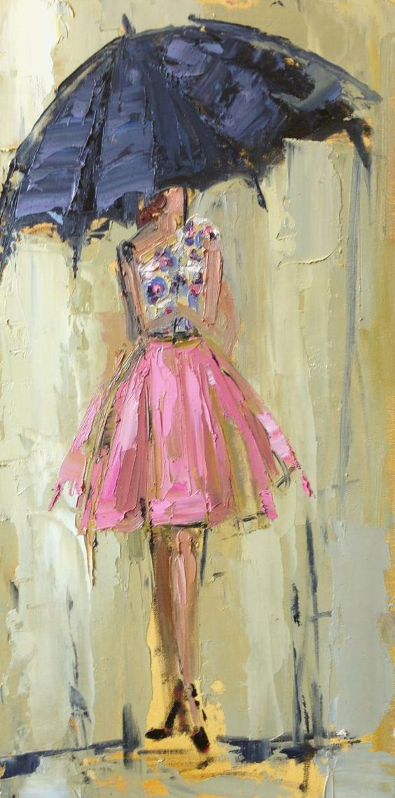 Girl With Red Umbrella Painting
