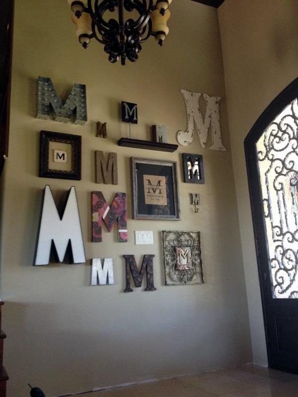 Wall Decoration Creative Ideas : Creative monogram wall art ideas