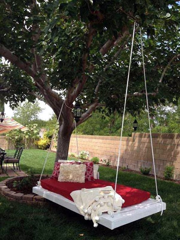 how to make a swing set between two trees