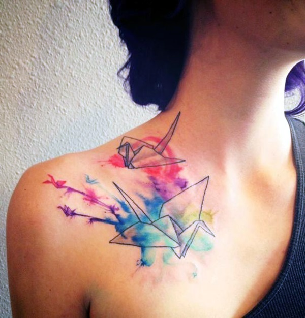 Lovely Origami Tattoo Designs (In Trend) (23)