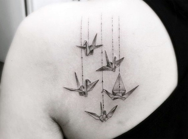 Lovely Origami Tattoo Designs In Trend 8