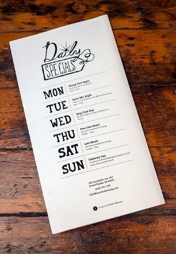 40 smart and creative menu card design ideas