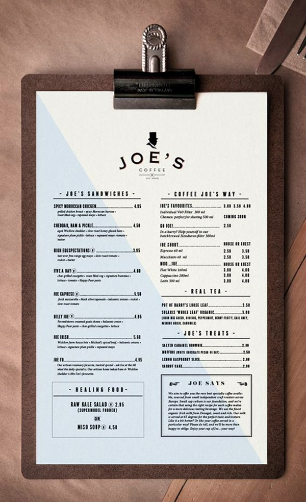 Smart and creative menu card design ideas