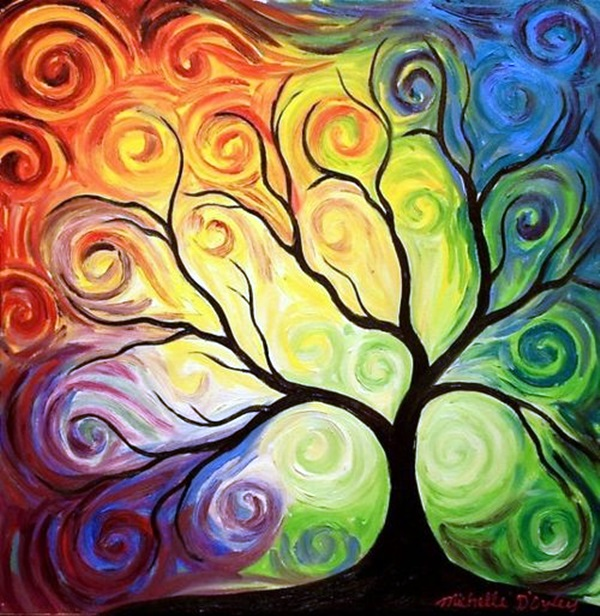 30 diy mixed media tree art projects for Artist canvas paint color