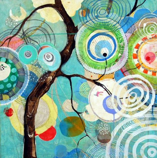 DIY Mixed Media Tree Art Projects (27)