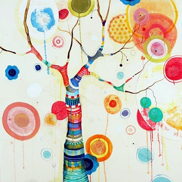 DIY Mixed Media Tree Art Projects (28)