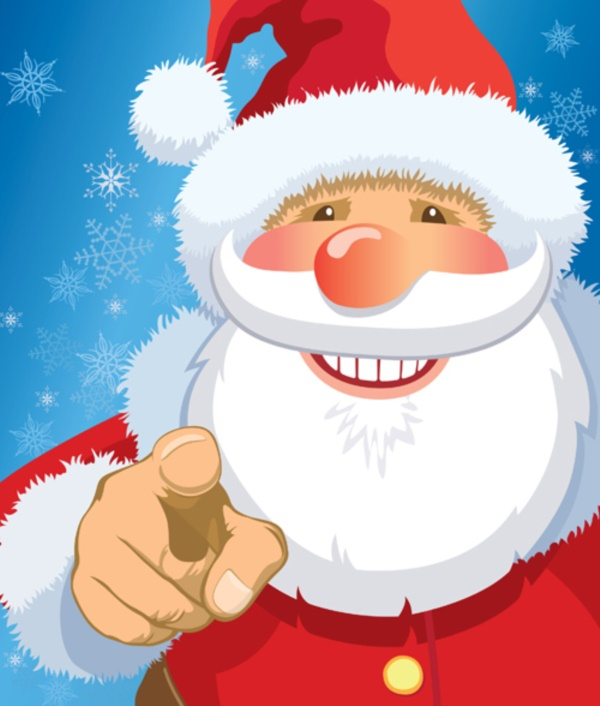 Smiling Santa Claus pointing at you, snowflakes in the background.