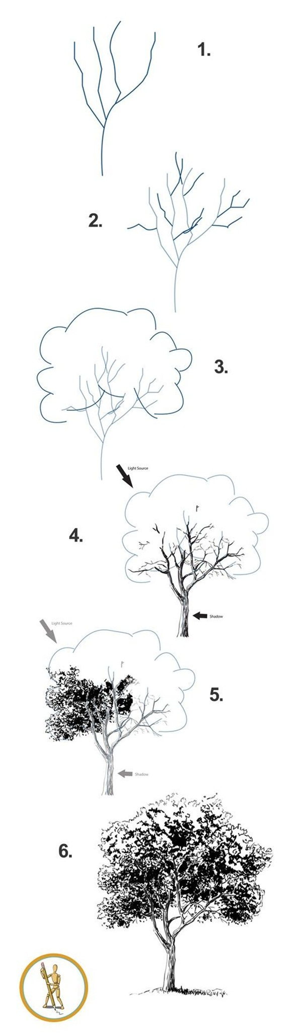 how to draw a tree step by step with leaves