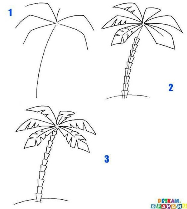 how to draw a tree step by step