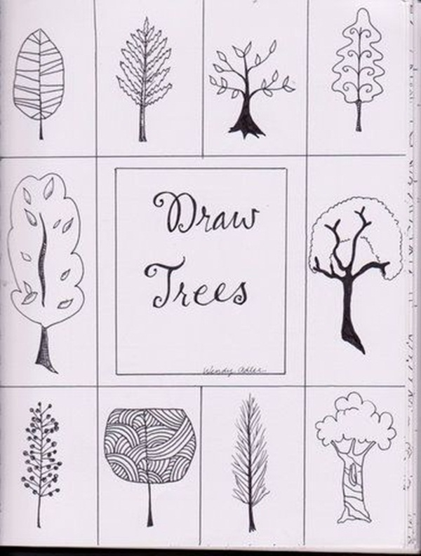 Simple Line Art Lessons : How to draw a tree step by image guides