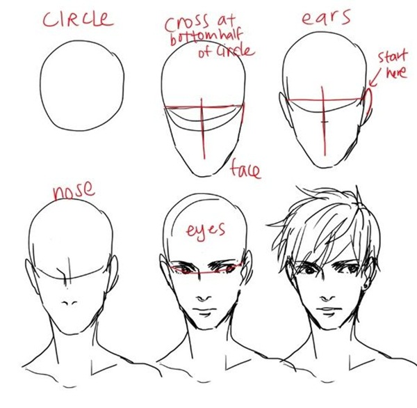 anime hair 3/4 view: How To Draw Hair (Step By Step Image Guides
