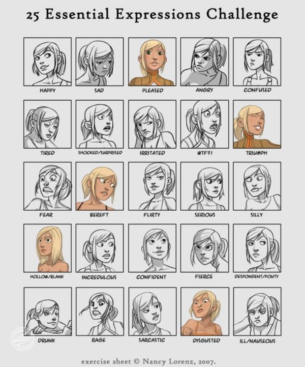 Handy Facial expression drawing Charts For practice4