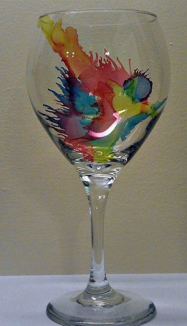 40 original alcohol ink on glass examples for Type of paint to use on wine glasses