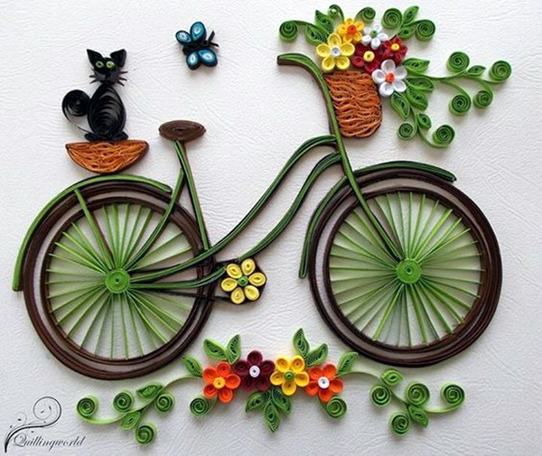 40 creative paper quilling designs and artworks bicycle with basket full of flowers is a great project too mightylinksfo