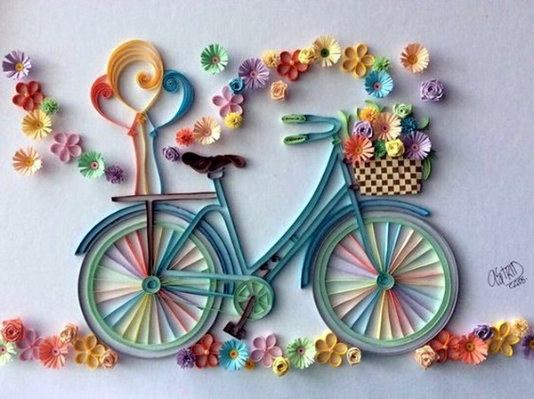 40 creative paper quilling designs and artworks pastel colored bicycle that any girl would love to collect flowers on a sunny day mightylinksfo