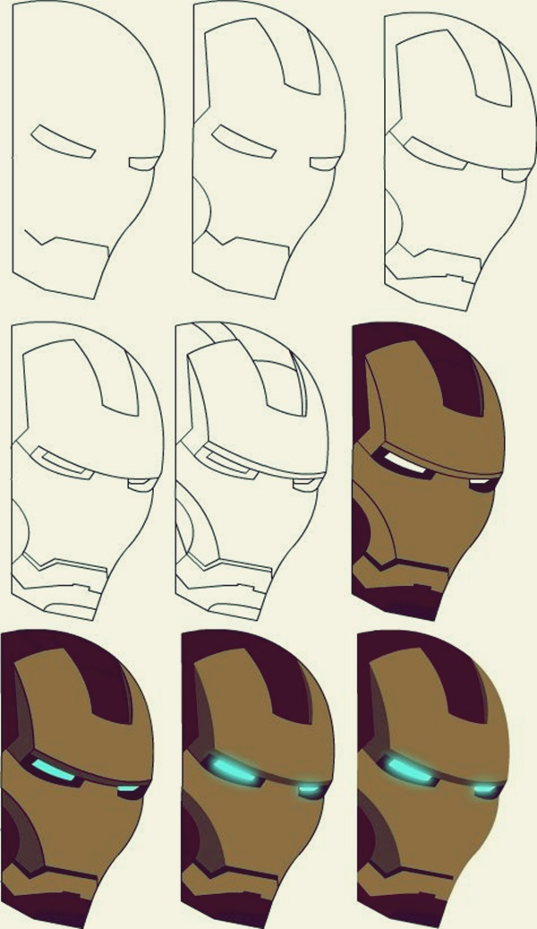 to draw the iron man in his full glory you will need to start with his outline we suggest that you start with the head and then move on to the outline
