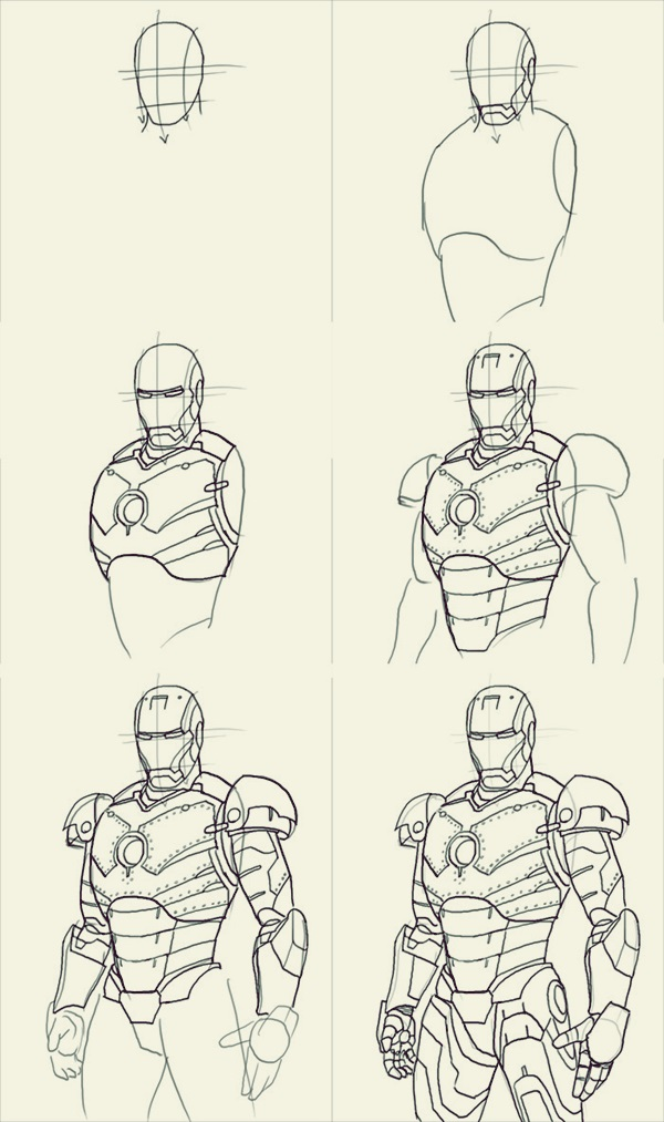 How To Draw Iron Man 10 Step By Examples