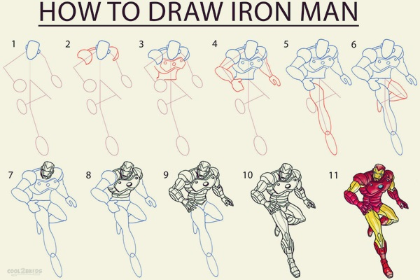How To Draw Iron Man 10 Step By Step Examples