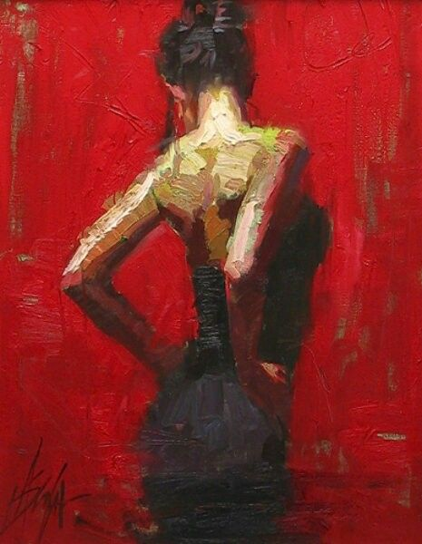 Woman In A Red Dress Painting