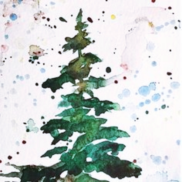 Watercolour Christmas Tree: 20 Quick 5 Minute Painting Projects For 2018
