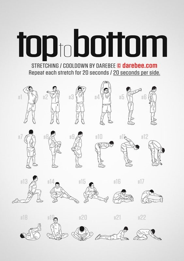 40 charts of post workout stretches to prevent injuries. Black Bedroom Furniture Sets. Home Design Ideas