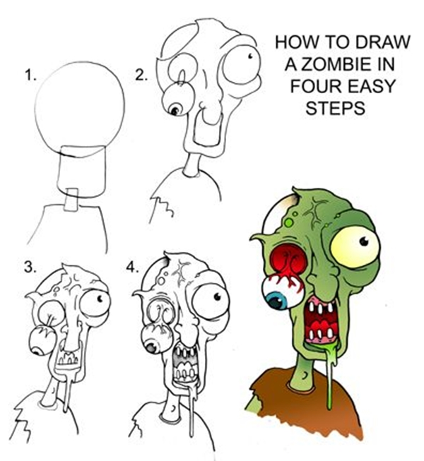 It is a photo of Modest Zombie Drawing Simple