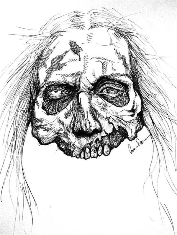 Zombie Face Line Drawing : Insanely cool zombie drawings and sketches bored art