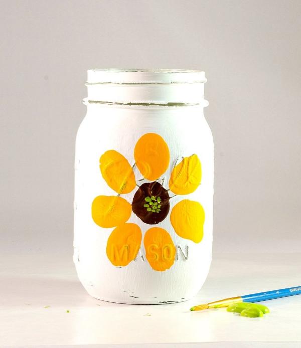 10. Thumbprint Mason Jar Craft