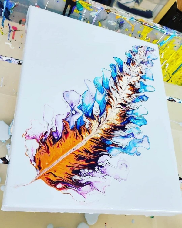3. Pour Paintings with Water Colors